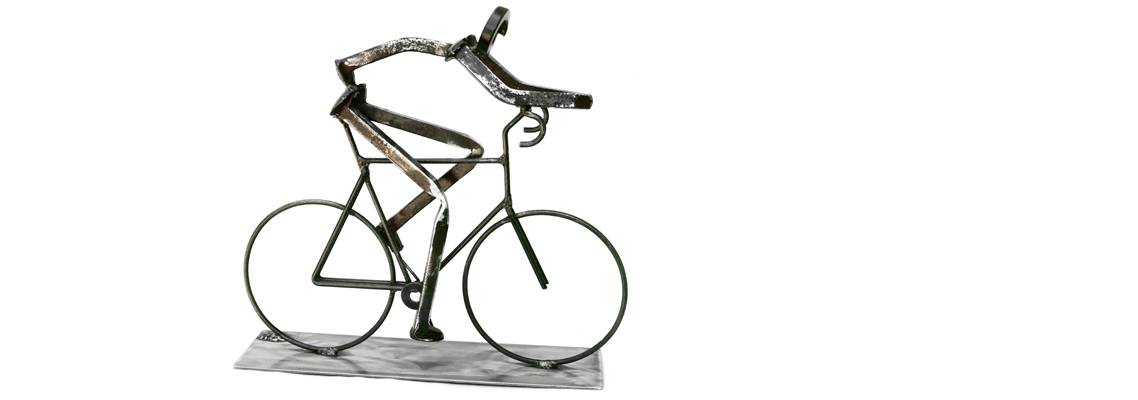 Pat Blide Train Spike Sculpture Bicyclist
