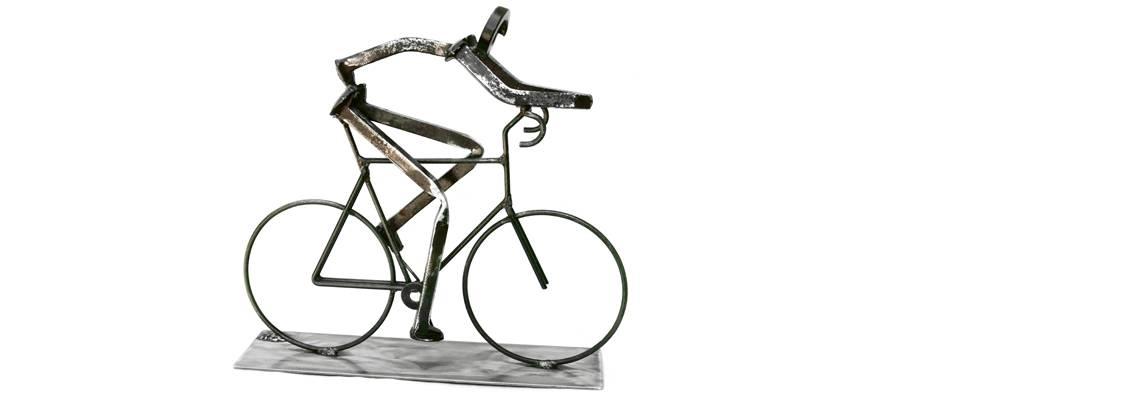 Pat Blide Train Spike Sculpture Bicyclist