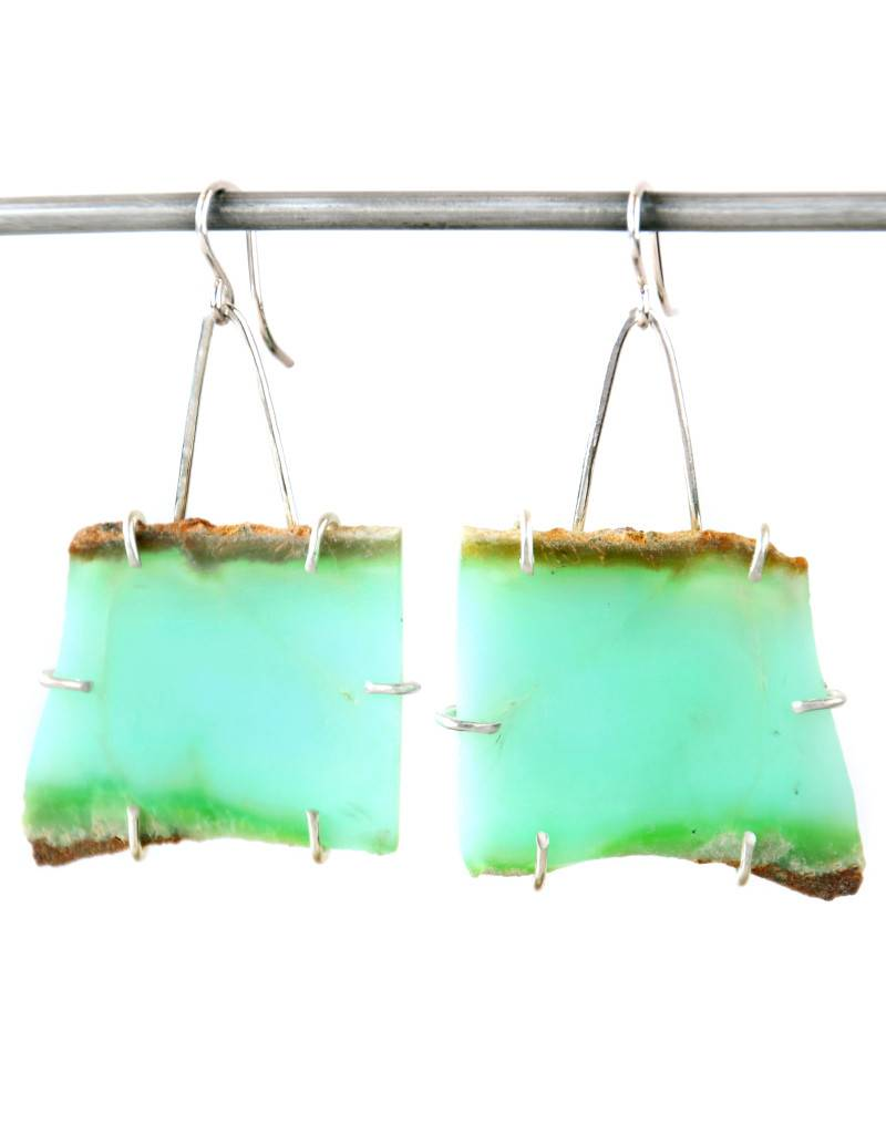 Chrysophrase Slab Earrings
