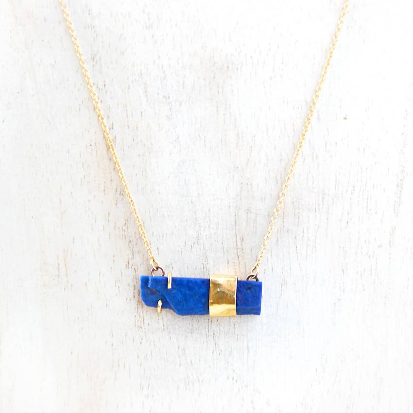 Lapis necklace with 18k gold accent