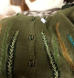 Alpaca Sweater, Olive Green Large