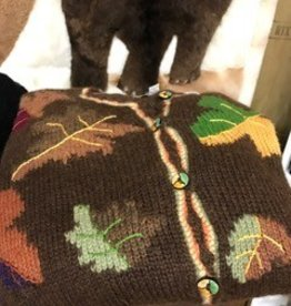 Alpaca Sweater, Leaves, Multi-Color XL