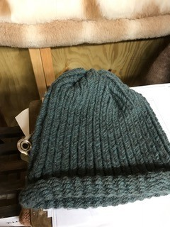Alpaca Hat, Knitted Blue Green