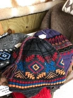 Alpaca Hat, Chullo  Blue/Orange Decorated
