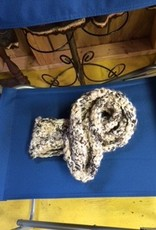 Alpaca Scarf, Crocheted, Black/Gray
