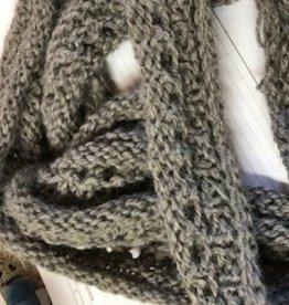 Alpaca Scarf, Knitted, Silver Gray, Long, Narrow
