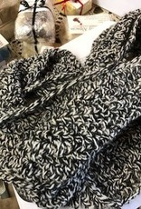 Alpaca Scarf, Black and White Knitted,