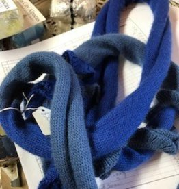 Alpaca Scarf, Blue Long Snake