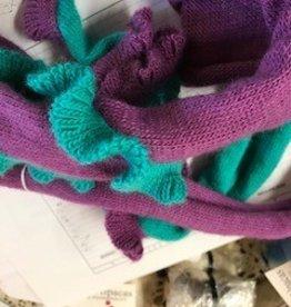 Alpaca Scarf, Purple/Torq Snake Long