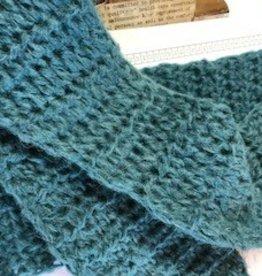 Sale Alpaca Scarf, Torquoise, Long, Crocheted