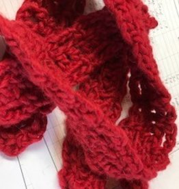 Alpaca Scarf, Red Narrow, Long, Crocheted