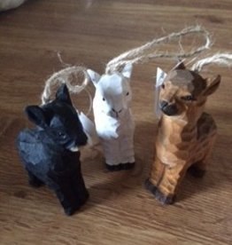 Alpaca Ornaments, Wooden, Black