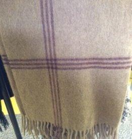 Alpaca Blanket, Natural/Maroon, Windowpane Full
