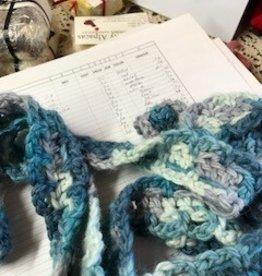 Sale Alpaca Scarf, Two Tone Blue, Narrow Long