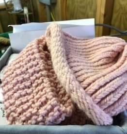 Alpaca Hat and Scarf, Light Pink