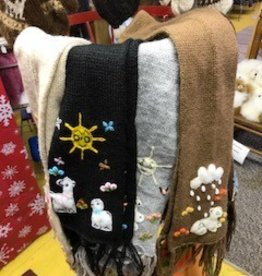 Alpaca Scarf, Child's , Tan, Blck, White, Gray