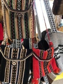 "Alpaca Shoulder Bag, Small, 6 x8"" Red, yel, black"