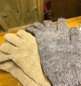 Alpaca Gloves White , Rose Gray, Brown L