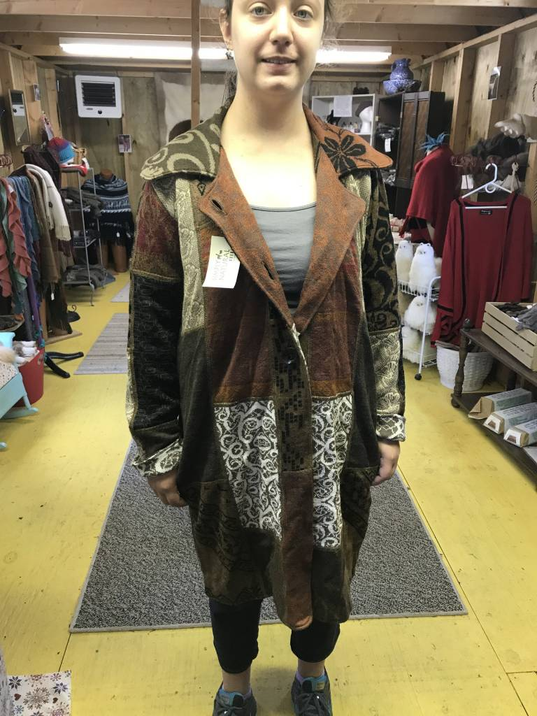 Alpaca Coat Sweater, Earth Tones Arlequin