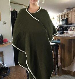 Alpaca Ruffle Wrap, Dark Olive Green, Penelope
