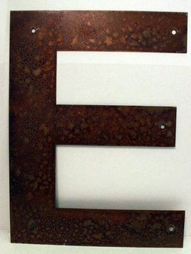 Rusted Metal Letter E 12""