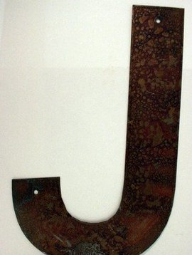 Rusted Metal Letter J 12""