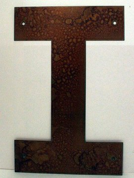 """Rusted Metal Letter I 12"""""""