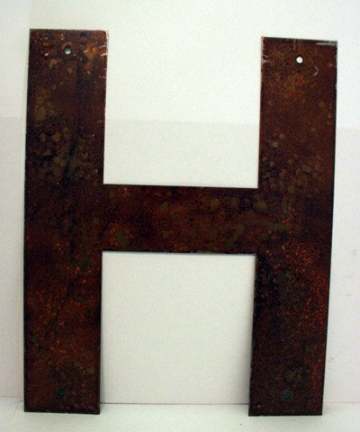 Rusted Metal Letter H 18""