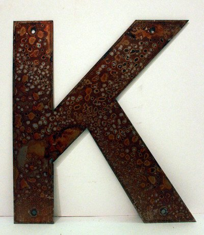 """Rusted Metal Letter K 18"""""""