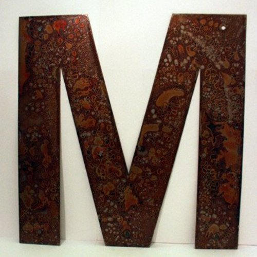 Rusted Metal Letter M 12""