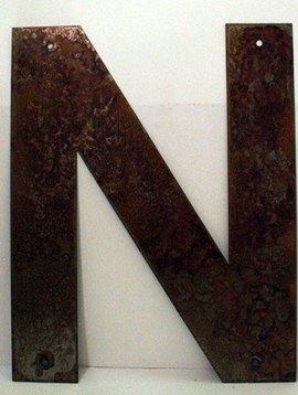 "Rusted Metal Letter N 12"""