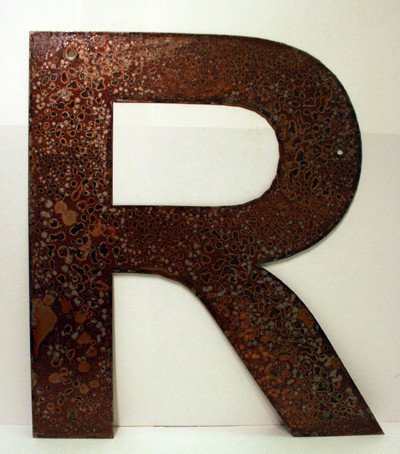 Rusted Metal Letter R 18""