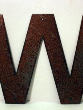 Rusted Metal Letter W 12""