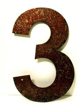 Rusted Metal Number 3 12""
