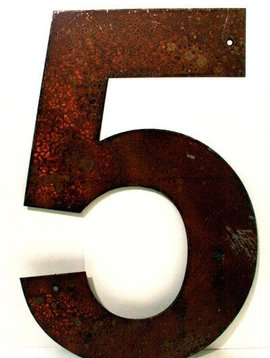 Rusted Metal Number 5 18""
