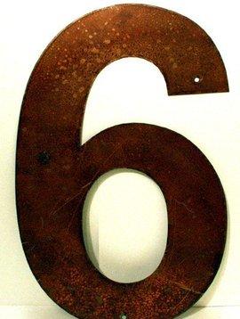 "Rusted Metal Number 6 18"""