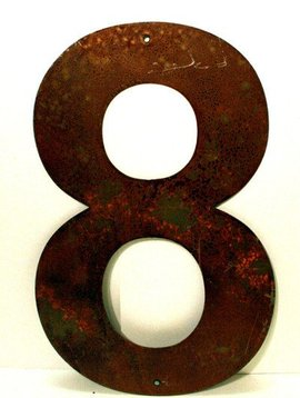 Rusted Metal Number 8 12""