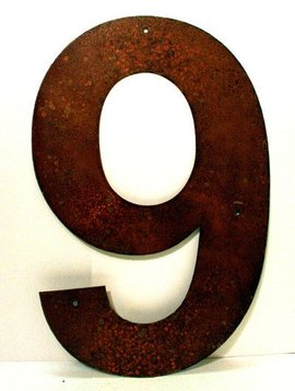 Rusted Metal Number 9 12""