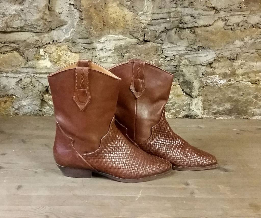 Basket Weave Leather Boots