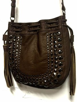 Brown Studded Cross Body Bag