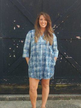 Plaid Chambray Shirt Dress