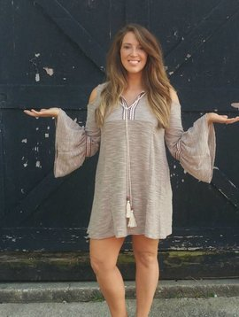 Mocha Cold Shoulder Dress