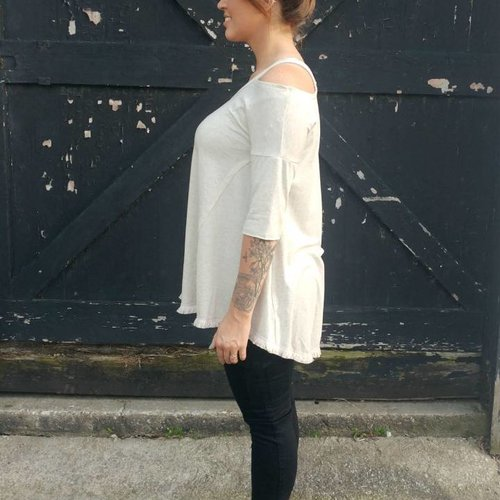 Oatmeal Half Sleeve Top