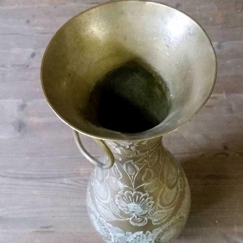 Brass Etched Floral Vase