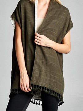 Olive Tassel Kimono
