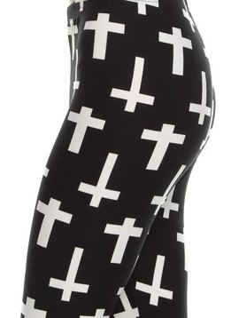 Cross Print Curvy Legging