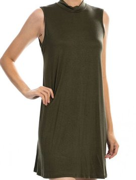 Olive Sleeveless Shirt Dress