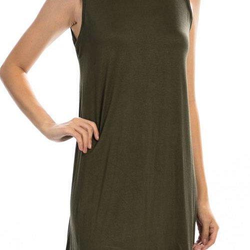 Olive Sleeveless Shirt Dress