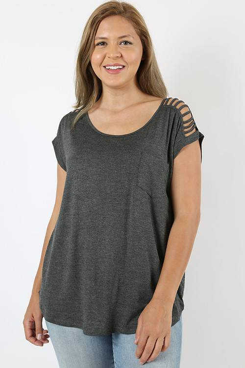 Charcoal Dolman Top Curvy