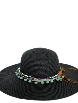 Black Boho Floppy Hat